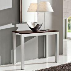 PA500 - Tavolo-consolle allungabile in alluminio, piano 46.5x100 cm in diverse finiture