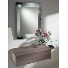 Due F - Entrance furniture with 2 drawers, mirror and glass shelf