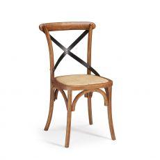 TT861 - Sedia viennese in legno di olmo, seduta in fibra naturale, schienale incrociato in ferro