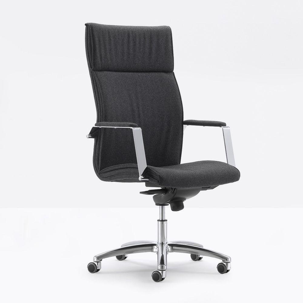 Ml507 fauteuil pr sidentiel de bureau en tissu ou simili cuir dot d 39 accoudoirs dossier haut - Fauteuil de bureau tissu ...