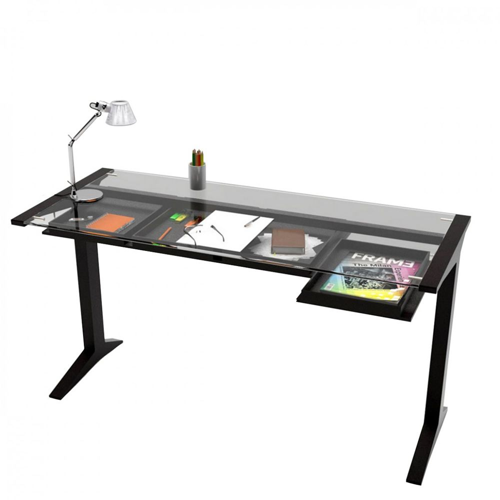 leo valsecchi wooden writing desk glass top  x  cm with  -  with leo  writing desk made of wengè ash wood with extra clear glasstop