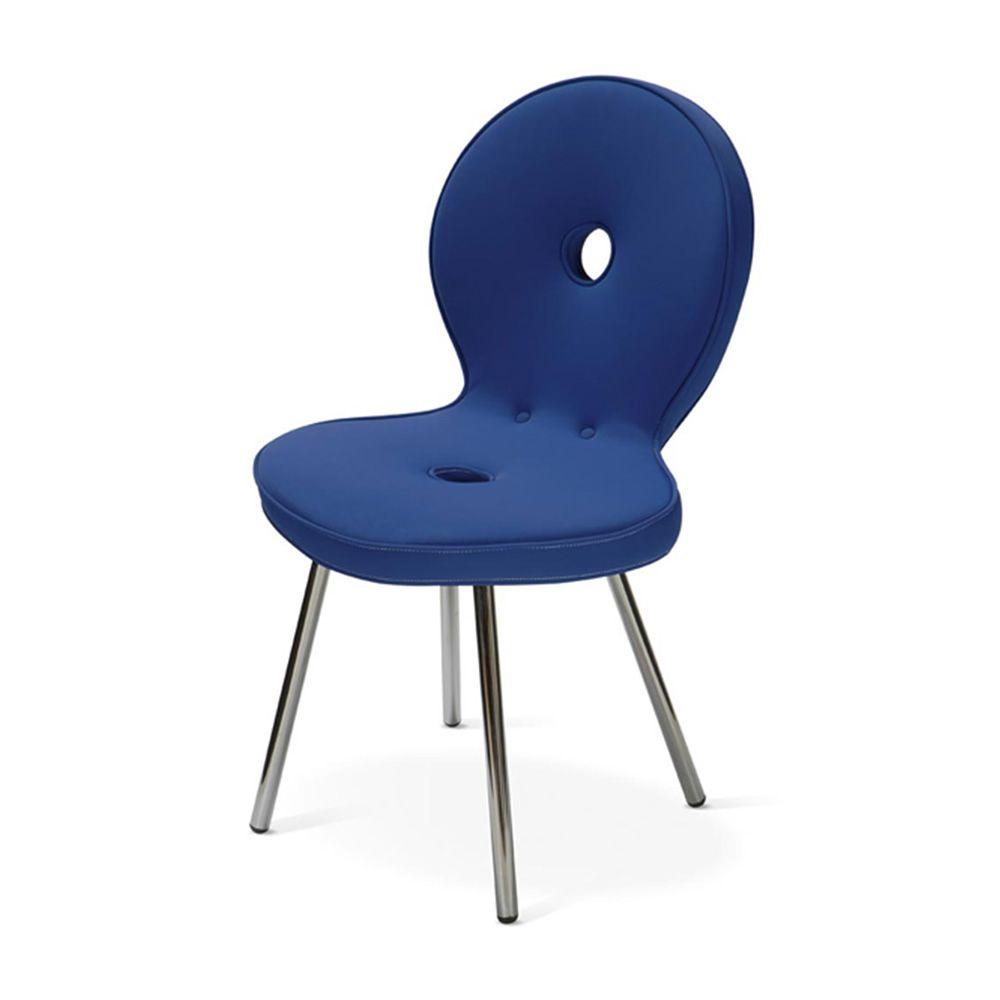 Sedi 39 ola sedia di design adrenalina in metallo con seduta imbottita e rivestita in pelle o - Sedia di design ...