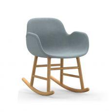 Form-R UP - Poltroncina a dondolo Normann Copenhagen in legno, seduta imbottita, diversi rivestimenti e colori disponibili