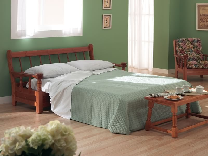 Tirolo divano letto divano letto rustico in legno con for Futon cama dos plazas