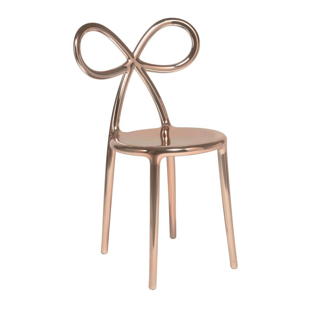 Ribbon chair metal sedia di design qeeboo con schienale a forma di fiocco in polipropilene - Sedia di design ...