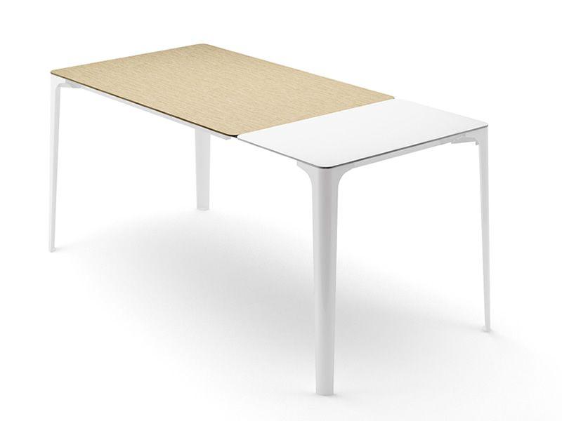 mat verl ngerbarer tisch infiniti aus aluminium platte aus newpann oder corian in. Black Bedroom Furniture Sets. Home Design Ideas