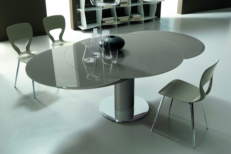 Giro mesa redonda de dise o bontempi casa extensible de for Mesa redonda de cristal extensible