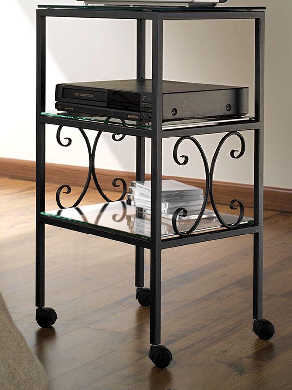 Ritz porta tv in ferro con 3 ripiani in vetro in - Porta tv ferro battuto ...