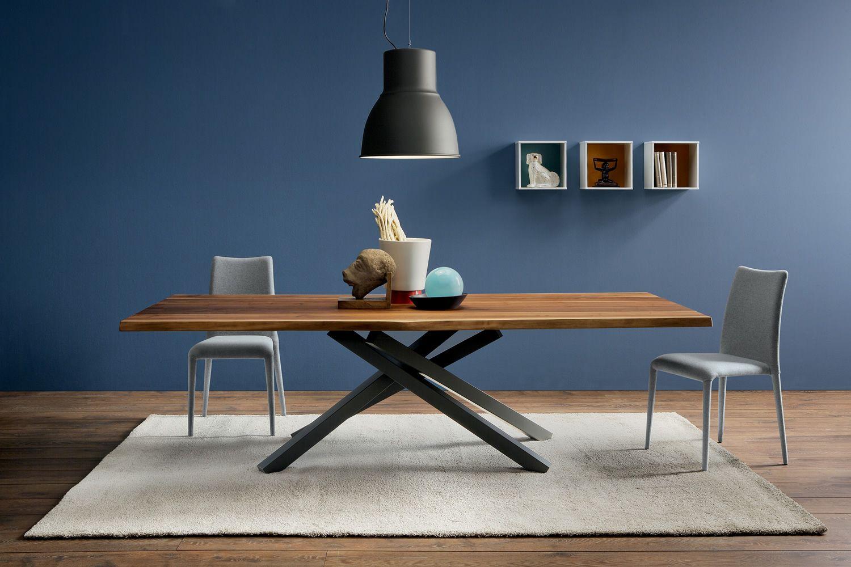 Pechino tavolo fisso midj in metallo e legno massello - Tavoli da pranzo ferro battuto e vetro ...