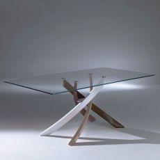Artistico Glass - Tavolo di design di Bontempi Casa, fisso 160 x 90 cm, con basamento centrale in metallo e piano in vetro, disponibile in diversi colori