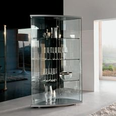 Gracìa 6430 - Tonin Casa showcase made of glass and varnished wood in aluminium, several colours available, with LED light