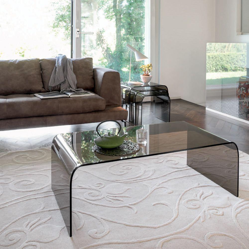 Anemone 6850 Rectangular Coffee Table Made Of Transpa Bronze Glass