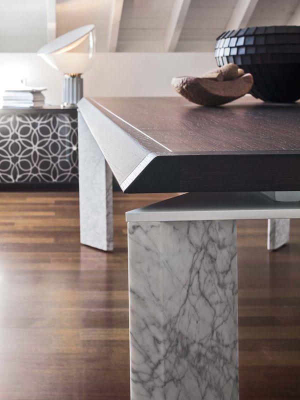 roma f 8068 table fixe tonin casa en bois ou marbre plateau en plaqu 200 x 110 cm sediarreda. Black Bedroom Furniture Sets. Home Design Ideas