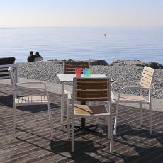 Pearl-T - Stackable chair with armrest, in aluminium, seat and backrest in eco-teak, different colours, for outdoor