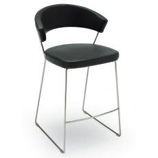 CB1087 New York - Tabouret Connubia - Calligaris en métal, avec revêtement en cuir ou simili cuir, hauteur de l'assise 65 cm