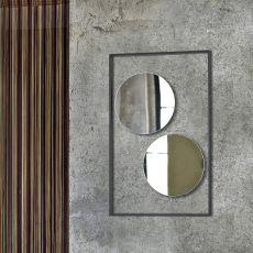 Trucco - Specchio circolare Bontempi Casa, singolo o doppio, con cornice in acciaio laccato in diversi colori