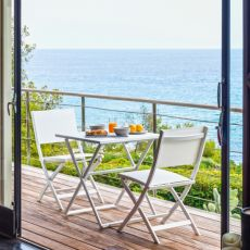 Queen - Folding chair in aluminium and textilene, in several colours, also for garden