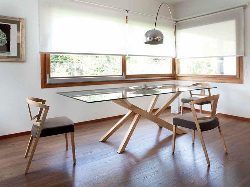 Tree 200 feststehender tisch domitalia aus holz mit for Tisch holz glas