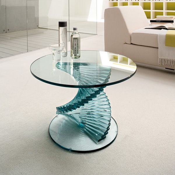 Ariel 6814 table basse tonin casa en verre plateau ronde - Table basse ronde en verre design ...