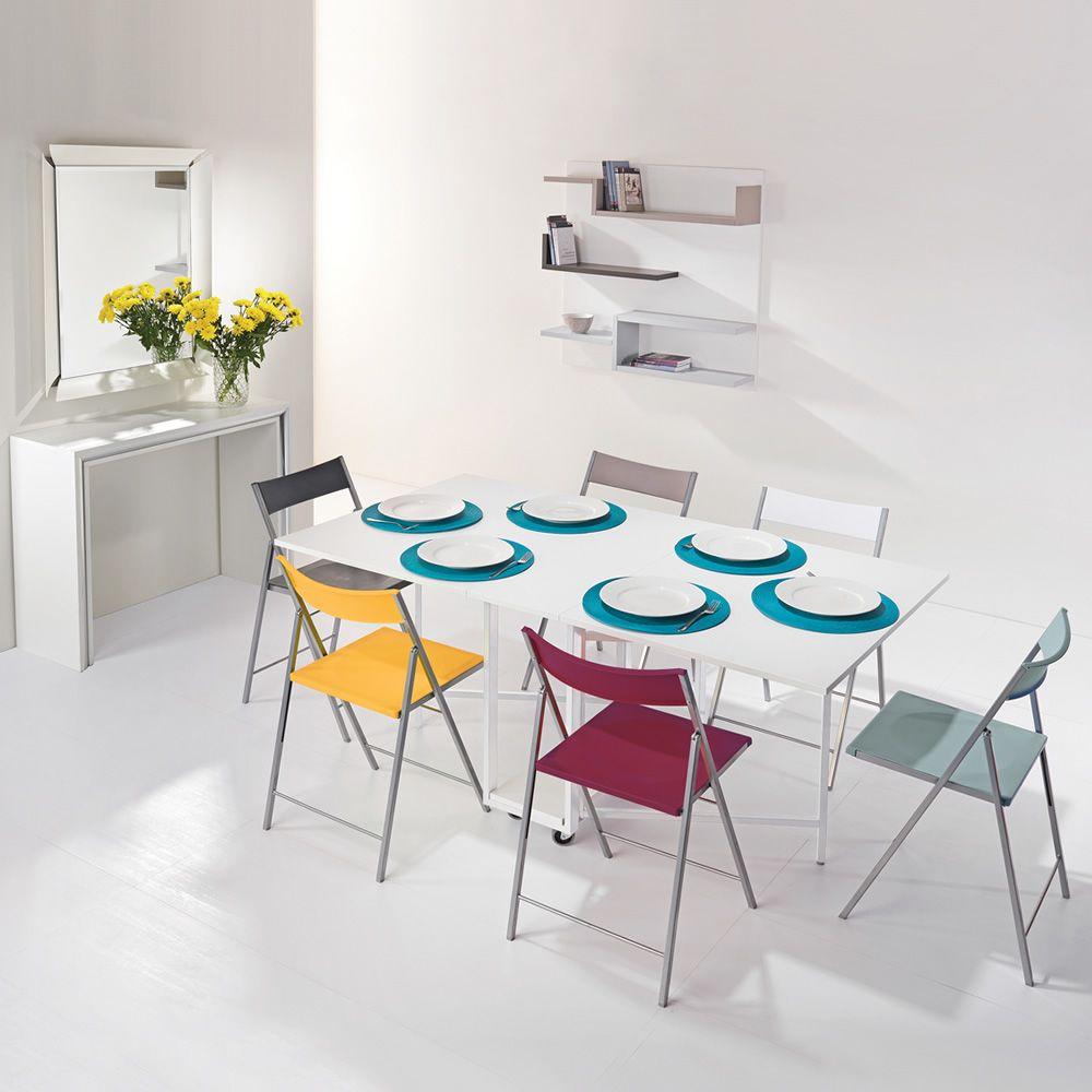 archimede set konsole set mit klappbarem tisch 170 x 90 cm und 6 st hlen verschiedene farben. Black Bedroom Furniture Sets. Home Design Ideas