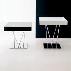 Ginger - Tavolino di design Bontempi Casa, con struttura in acciaio laccato e piano in legno, diverse altezze e finiture disponibili