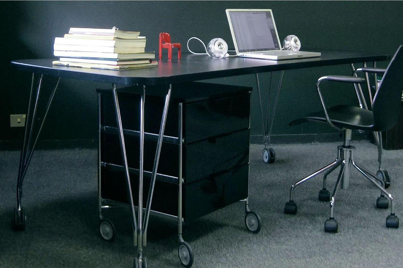 Max bureau table design kartell en acier et stratifié avec ou