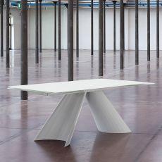 Tuile-A - Tavolo Domitalia in metallo, piano in vetro, 200 x 100 cm allungabile
