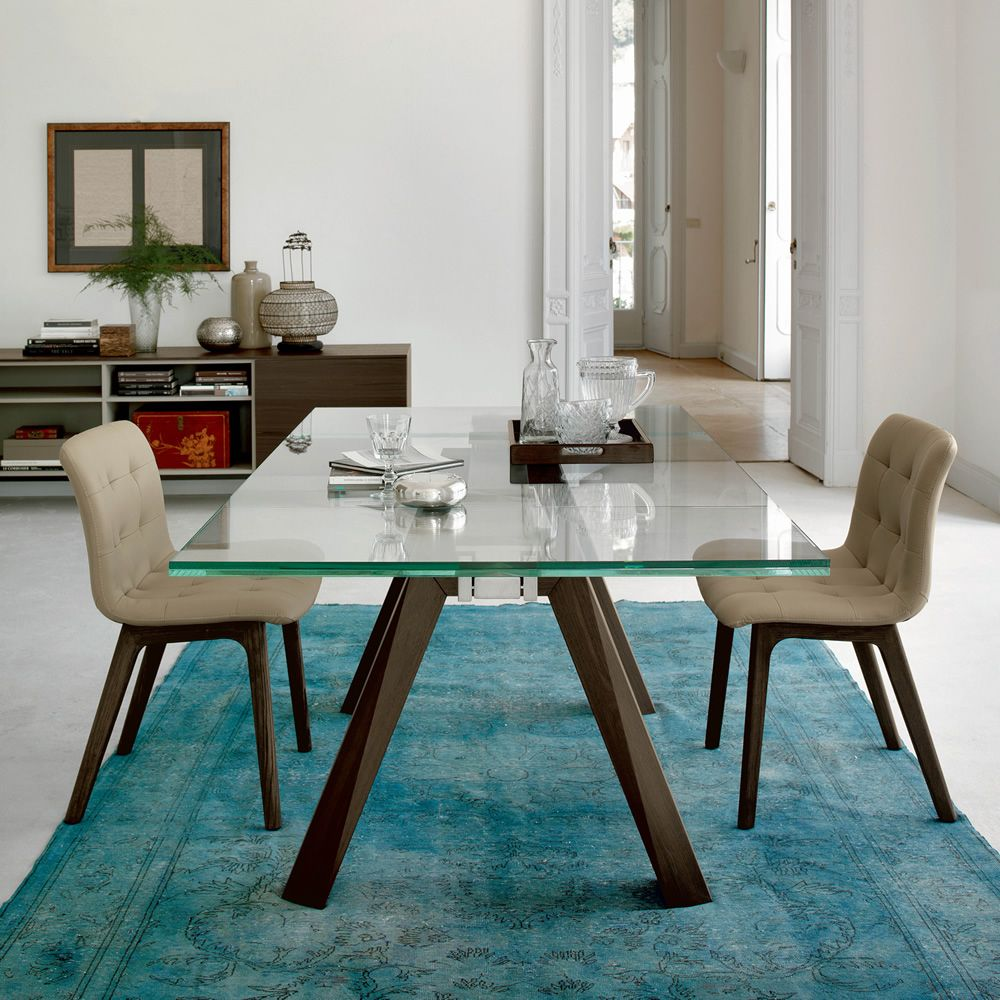 Aron ext table design de bontempi casa 200 x 106 cm for Table extensible verre et bois