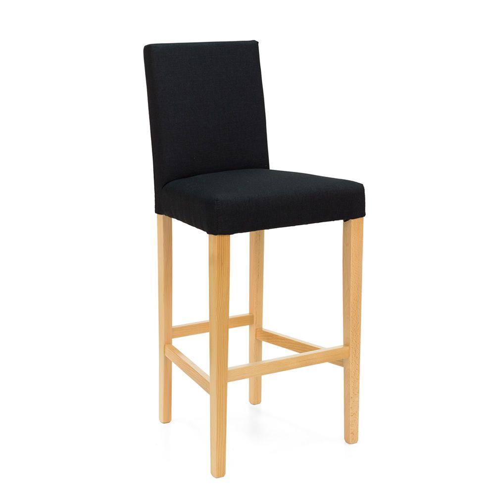 mu taburete de madera teida natural asiento acolchado con tapizado en tejido l color