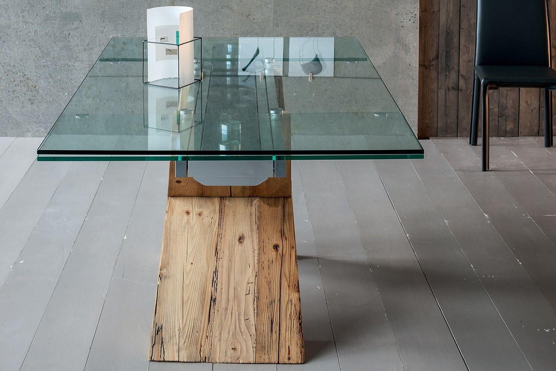 Akeo a tavolo di design in legno allungabile con piano for Tavolo in legno design