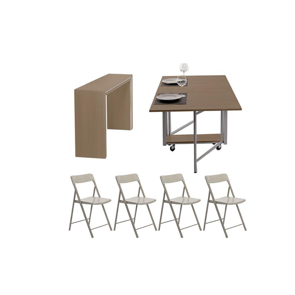 Archimede zeta set set consolle con tavolo pieghevole for Tavoli pieghevoli con sedie