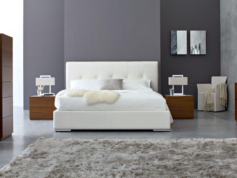 Cs6021 g swami letto matrimoniale calligaris rivestito similpelle bianca 190 x 218 cm sediarreda - Calligaris letto swami ...