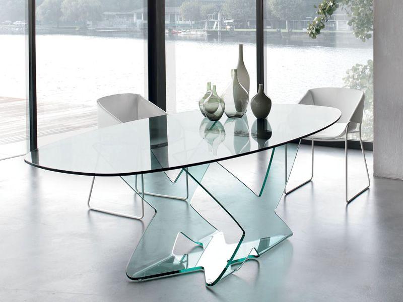 Ghost 8058 tavolo di design tonin casa in vetro piano rettangolare o ellittico sediarreda - Tavoli di design in cristallo ...