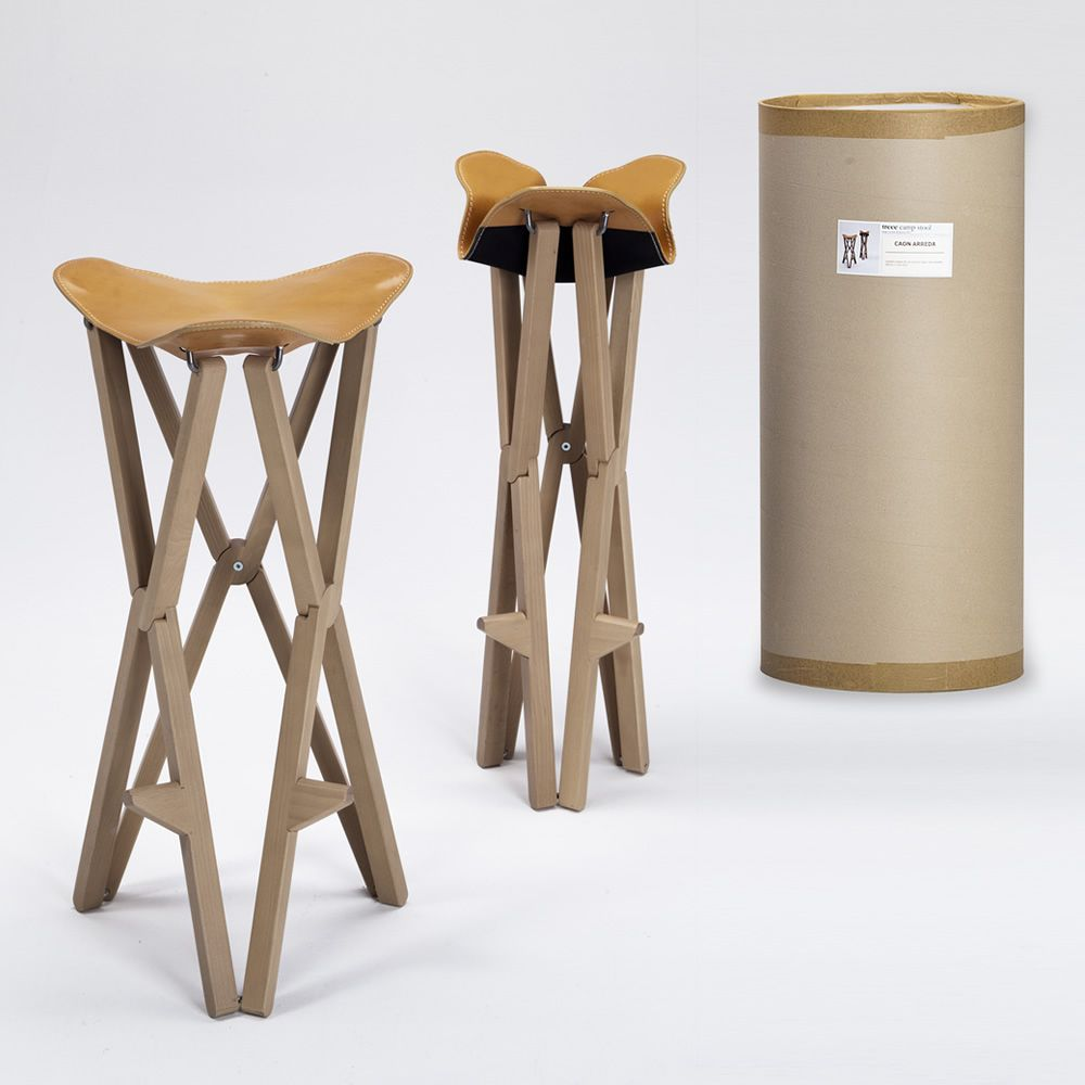 treee camp stool klappbarer hocker aus massivholz sitz aus narbenspaltleder sediarreda. Black Bedroom Furniture Sets. Home Design Ideas