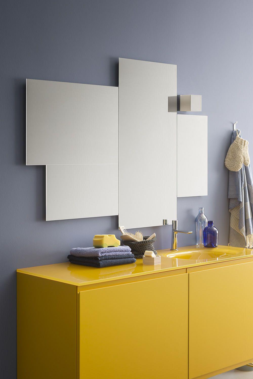 Memento C: Meuble de salle de bain avec plan en cristal, 2 tiroirs ...