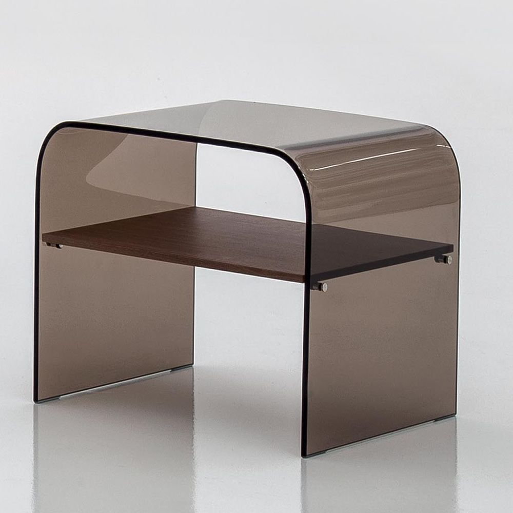 ... Anemone 6829   Coffee Table Night Stand Made Of Transparent Bronze  Glass With Wooden Shelf ...