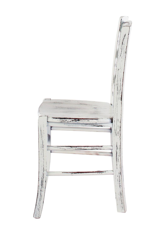 110 Scratch - Sedia rustica, in legno laccato bianco con finitura ...