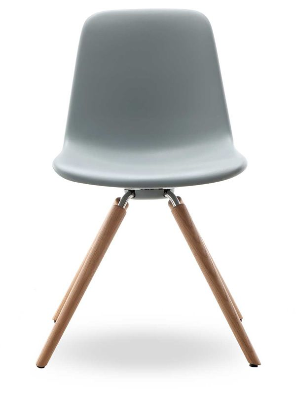 ... Step   Chair With Wooden Legs And Light Grey Polyurethane Seat ...