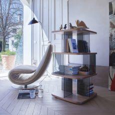Fenice 6475 - Libreria Tonin Casa in vetro e MDF, diverse finiture disponibili, altezza 108 cm