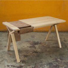 Bolsa - Scrivania di design in legno, con bisaccia portaoggetti incorporata in pelle o sughero