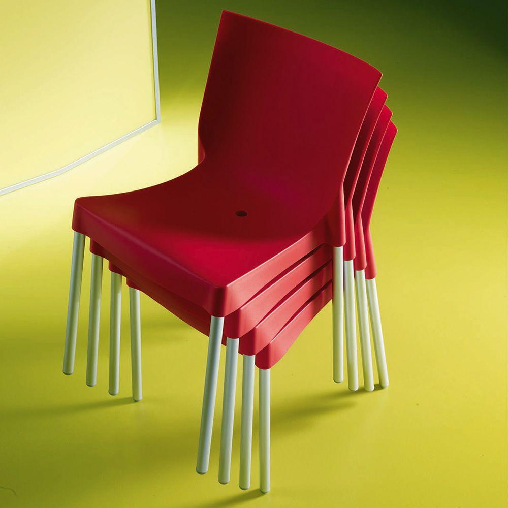 Diva off chaise empilable de bontempi casa en aluminium for Chaise en couleur