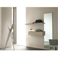 Logika 11 - Mobile ingresso con specchio e mensola, disponibile in diversi colori