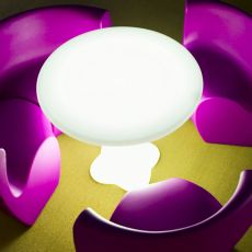 Teddy - Round table made of technopolymer, different colours available, for outdoor, also with light system