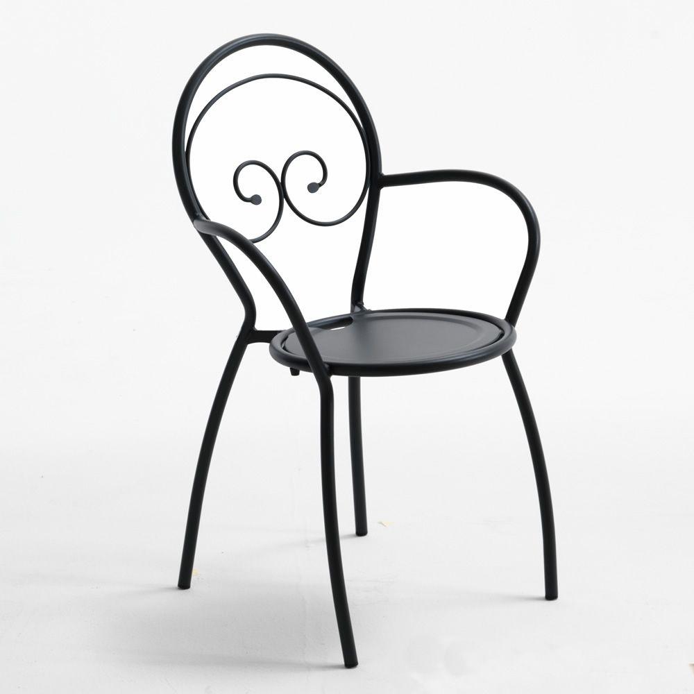 rig43p pour bars et restaurants chaise d 39 ext rieur en m tal avec accoudoirs empilable. Black Bedroom Furniture Sets. Home Design Ideas