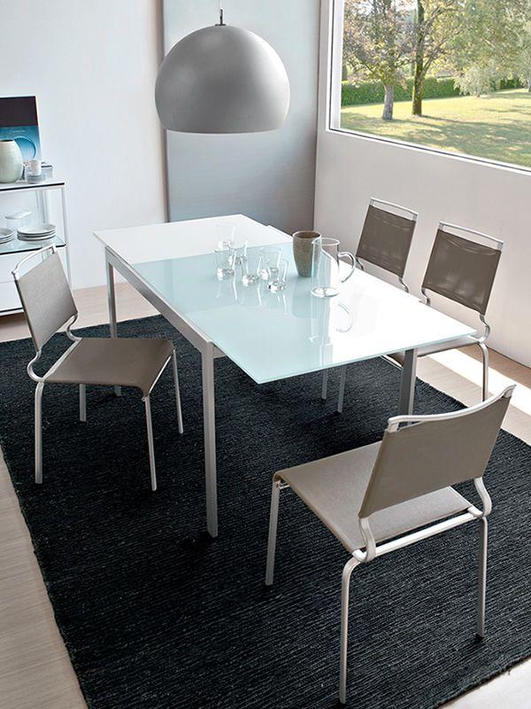 742 2v tavolo in metallo con piano in vetro 70x110 cm for Tavolo 70x110 allungabile
