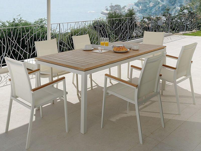 Timber t tavolo allungabile in alluminio e teak per for Tavolo allungabile giardino