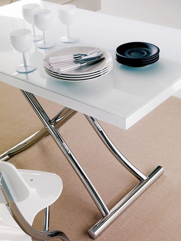 Planet tavolo da salotto trasformabile in metallo con for Tavolo da salotto allungabile