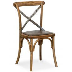 SE06 - Sedia viennese in legno con schienale incrociato in ferro, diverse sedute disponibili