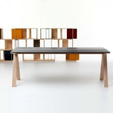 Traverso Filo - Tavolo Valsecchi in legno con piano in vetro o HPL, fisso 200 x 86 cm