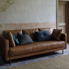 N501 - Ethnicraft 3-seater sofa, upholstered and with vintage leather covered
